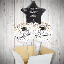 Personalisable Inflated Happy Graduation Confetti Holographic 3 Balloon Bouquet in a Box Gift