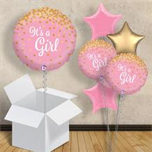 "It's a Girl Confetti Holographic 18"" Balloon in a Box"