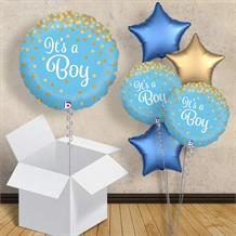 "It's a Boy Confetti Holographic 18"" Balloon in a Box"