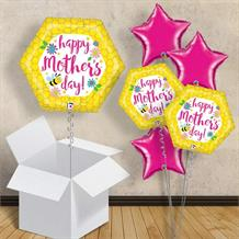 "Happy Mother's Day | Bee and Flowers 18"" Balloon in a Box"