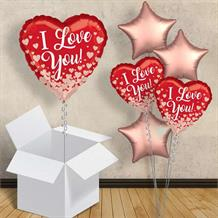 "I Love You Rose Gold Hearts 18"" Balloon in a Box"