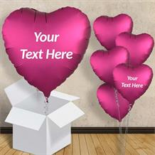 "Pomegranate Pink Heart Satin Luxe 18"" Balloon in a Box"