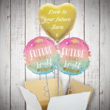 Personalisable Inflated Graduation Future Looks Bright 3 Balloon Bouquet in a Box Gift