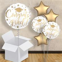 "Congrats Grad White Inflated 18"" Foil Balloon Balloon in a Box"
