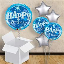 "Blue Sparkle Birthday 18"" Balloon in a Box"