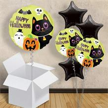 "Halloween Critters | Black Cat | Bat | Pumpkin 18"" Balloon in a Box"