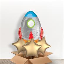 "Space Rocket 29"" Shaped Inflated Foil Balloon in a Box"