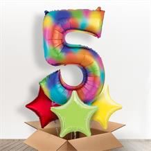 Rainbow Coloured Splash Giant Number 5 Balloon in a Box Gift