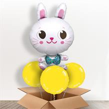 White Easter Bunny Giant Shaped Balloon in a Box Gift