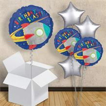 "Space Rocket Birthday Blast Inflated 18"" Foil Balloon in a Box"