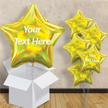 "Personalisable Yellow Iridescent Star 18"" Balloon in a Box"