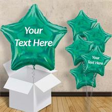 "Personalisable Dark Green Iridescent Star 18"" Balloon in a Box"