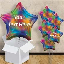 "Personalisable Rainbow Iridescent Star 18"" Balloon in a Box"