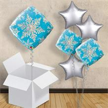 "Holographic Blue Snowflakes 18"" Balloon in a Box"