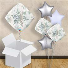 "Holographic White Snowflakes 18"" Balloon in a Box"