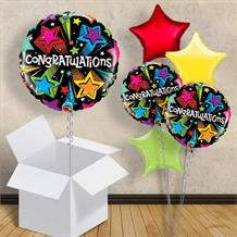 "Congratulations Multi-Coloured Shooting Stars 18"" Balloon in a Box"
