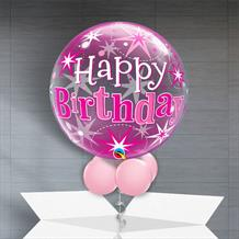 "Pink Starburst Happy Birthday 22"" Bubble Balloon in a Box"