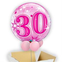 "Age 30 Pink Starburst 22"" Bubble Balloon in a Box"