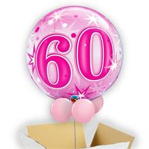 "Age 60 Pink Starburst 22"" Bubble Balloon in a Box"