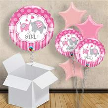 "It's a Girl Pink Elephants | Baby Shower 18"" Balloon in a Box"