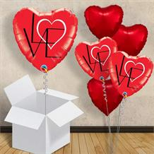 "Red Love Heart Abstract 18"" Balloon in a Box"