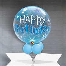 "Blue Starburst Happy Birthday 22"" Bubble Balloon in a Box"