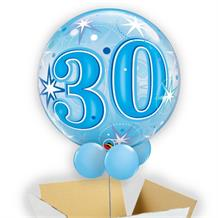 "Age 30 Blue Starburst 22"" Bubble Balloon in a Box"
