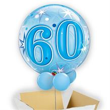"Age 60 Blue Starburst 22"" Bubble Balloon in a Box"