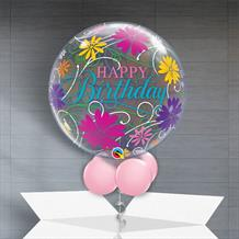 "Happy Birthday Flowers and Filigree 22"" Bubble Balloon in a Box"
