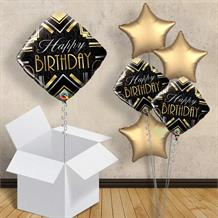 "Art Deco Diamond Happy Birthday 18"" Balloon in a Box"