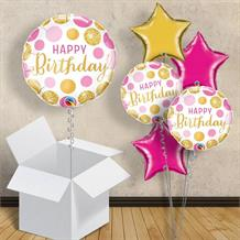 "Pink and Gold Dot Happy Birthday 18"" Balloon in a Box"