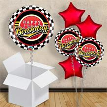 "Racing Gear and Chequered Flag 18"" Balloon in a Box"