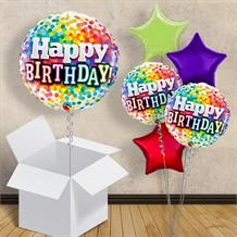 "Colourful Confetti Happy Birthday 18"" Balloon in a Box"