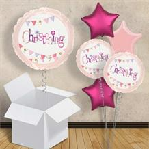 "Pink Bunting Christening 18"" Balloon in a Box"