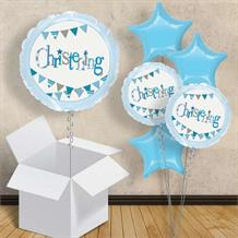 "Blue Bunting Christening 18"" Balloon in a Box"