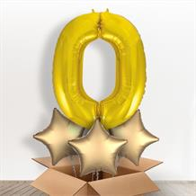 Gold Giant Number 0 Balloon in a Box Gift