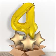 Gold Giant Number 4 Balloon in a Box Gift