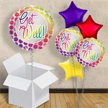 "Get Well Rainbow Polka Dots 18"" Balloon in a Box"