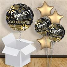 "Congrats! Celebrate Black and Gold 18"" Balloon in a Box"