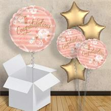 "Congratulations Pink and Gold Floral 18"" Balloon in a Box"