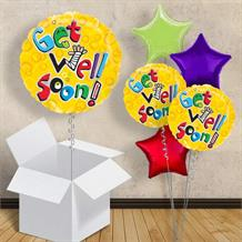 "Get Well Soon | Yellow Bubbles 18"" Balloon in a Box"