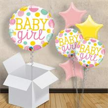 "Baby Girl Pink Dots | Baby Shower 18"" Balloon in a Box"
