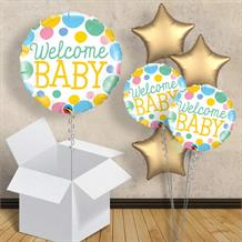"Welcome Baby Blue and Gold Dots 18"" Balloon in a Box"