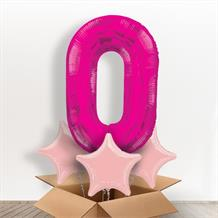Pink Giant Number 0 Balloon in a Box Gift