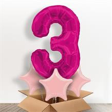 Pink Giant Number 3 Balloon in a Box Gift