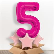 Pink Giant Number 5 Balloon in a Box Gift