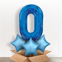Blue Giant Number 0 Balloon in a Box Gift
