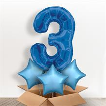 Blue Giant Number 3 Balloon in a Box Gift