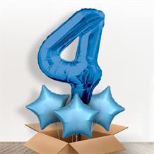 Blue Giant Number 4 Balloon in a Box Gift