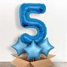 Blue Giant Number 5 Balloon in a Box Gift